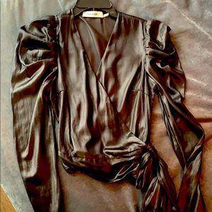 Black Princess Sleeve Wrap Top